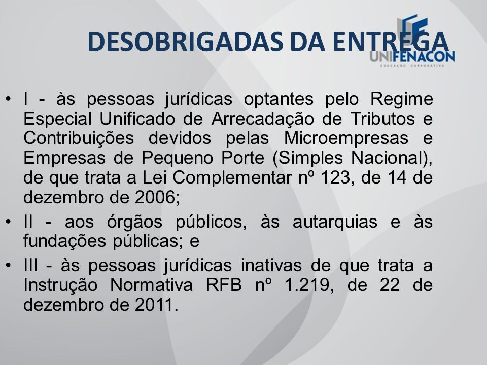 DESOBRIGADAS DA ENTREGA