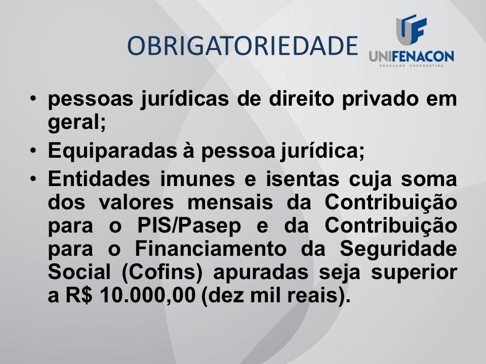 OBRIGATORIEDADE pessoas jurídicas de direito privado em geral;