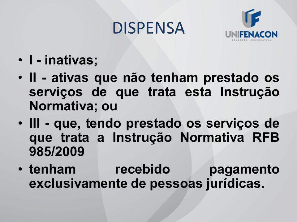 DISPENSA I - inativas; II - ativas que não tenham prestado os serviços de que trata esta Instrução Normativa; ou.