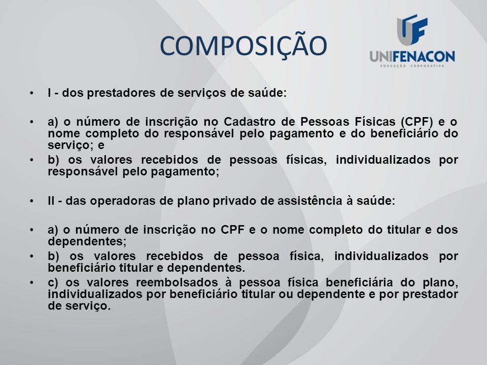 COMPOSIÇÃO I - dos prestadores de serviços de saúde: