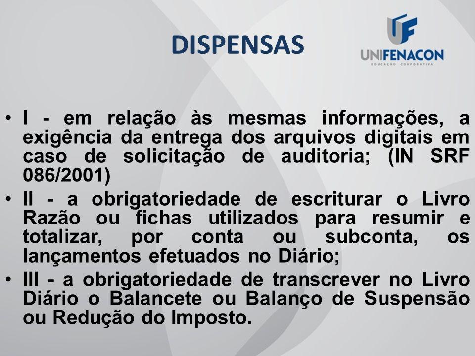 DISPENSAS I - em relação às mesmas informações, a exigência da entrega dos arquivos digitais em caso de solicitação de auditoria; (IN SRF 086/2001)