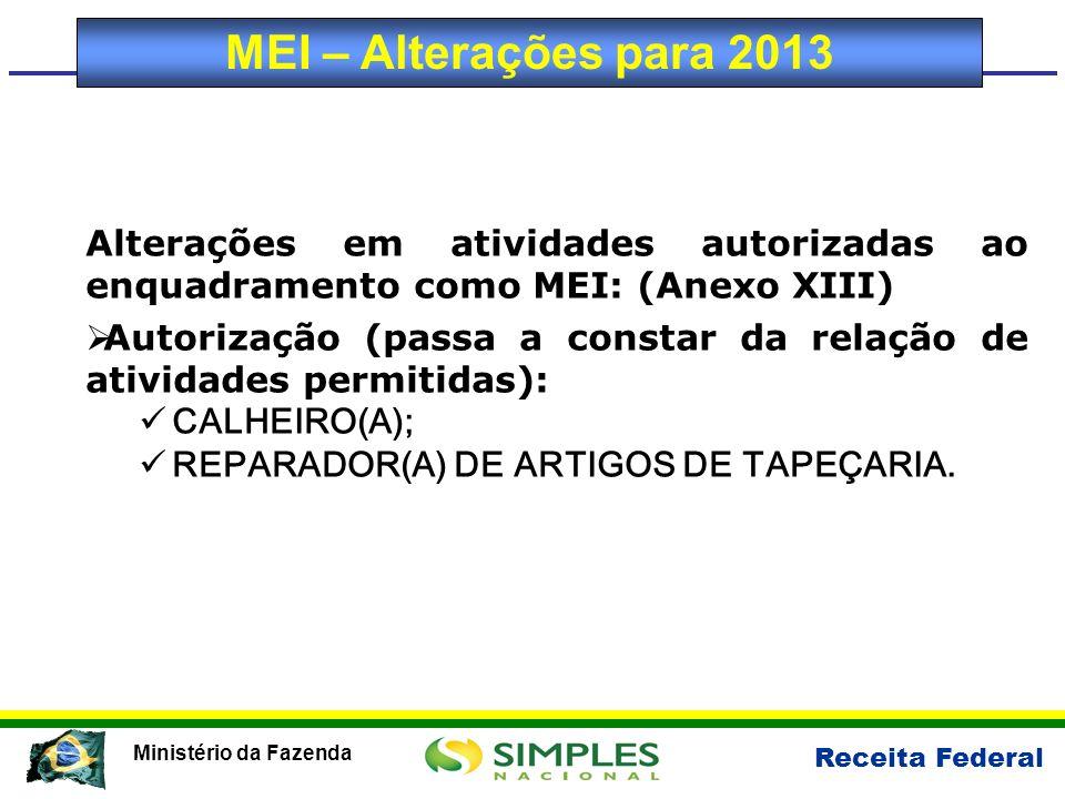 MEI – Alterações para 2013 Alterações em atividades autorizadas ao enquadramento como MEI: (Anexo XIII)