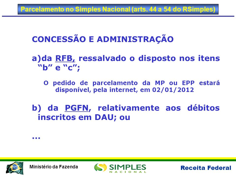 Parcelamento no Simples Nacional (arts. 44 a 54 do RSimples)