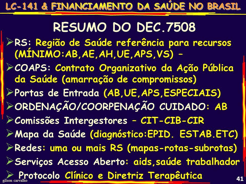 RESUMO DO DEC.7508 RS: Região de Saúde referência para recursos (MÍNIMO:AB,AE,AH,UE,APS,VS) –