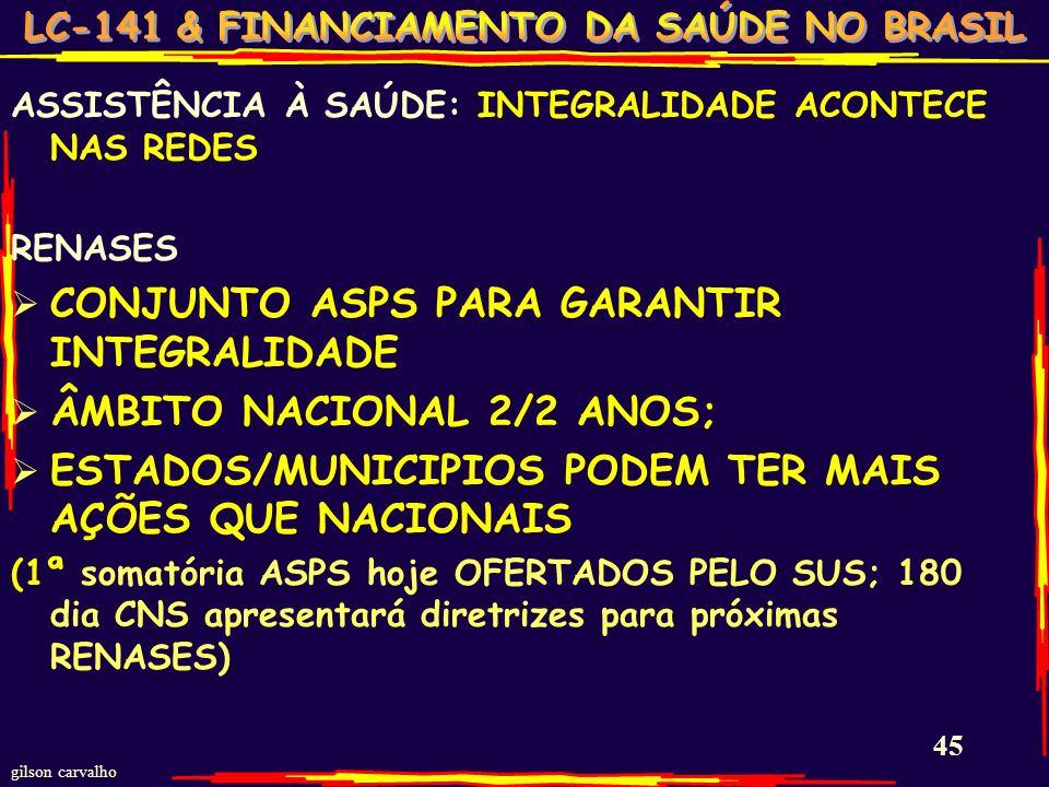 CONJUNTO ASPS PARA GARANTIR INTEGRALIDADE ÂMBITO NACIONAL 2/2 ANOS;