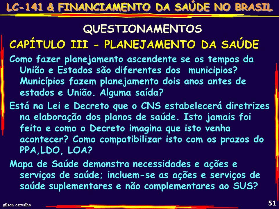 CAPÍTULO III - PLANEJAMENTO DA SAÚDE