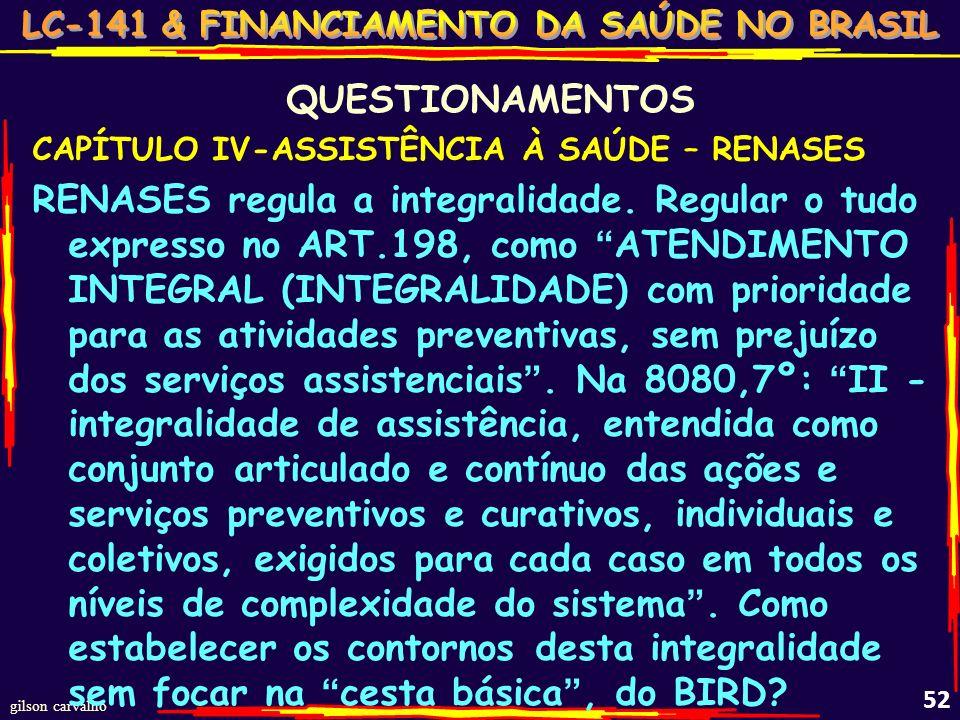 QUESTIONAMENTOS CAPÍTULO IV-ASSISTÊNCIA À SAÚDE – RENASES.