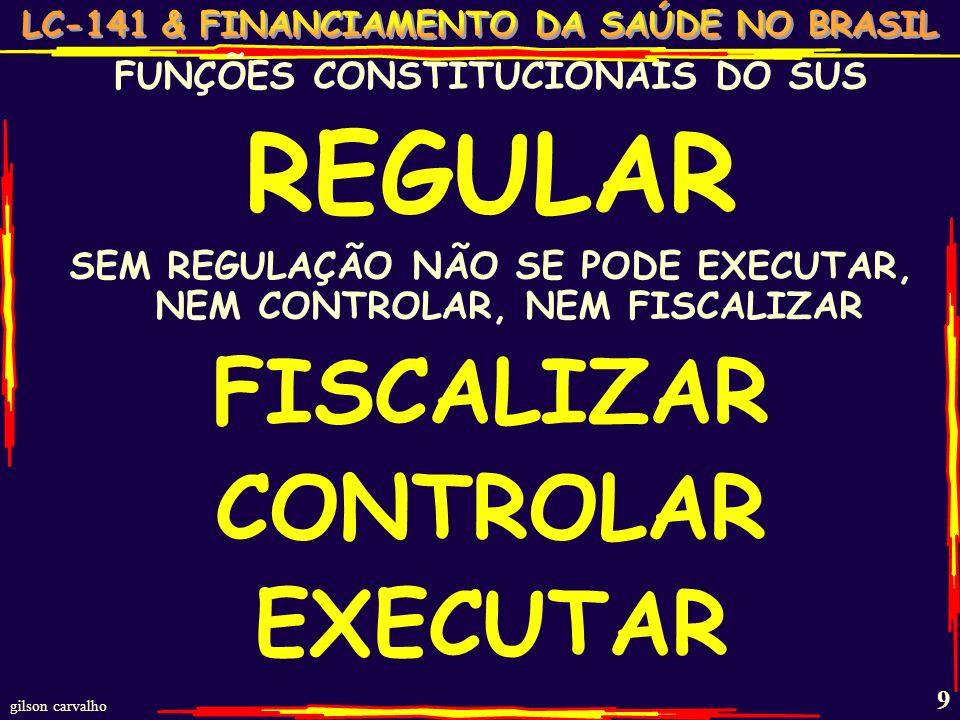 REGULAR FISCALIZAR CONTROLAR EXECUTAR FUNÇÕES CONSTITUCIONAIS DO SUS