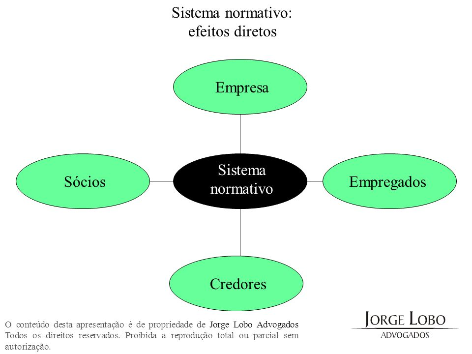 Sistema normativo: efeitos diretos Empresa Sistema normativo Sócios