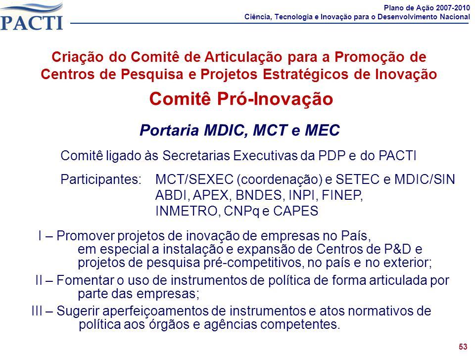 Comprometimentos 1 Comitê Pró-Inovação Portaria MDIC, MCT e MEC