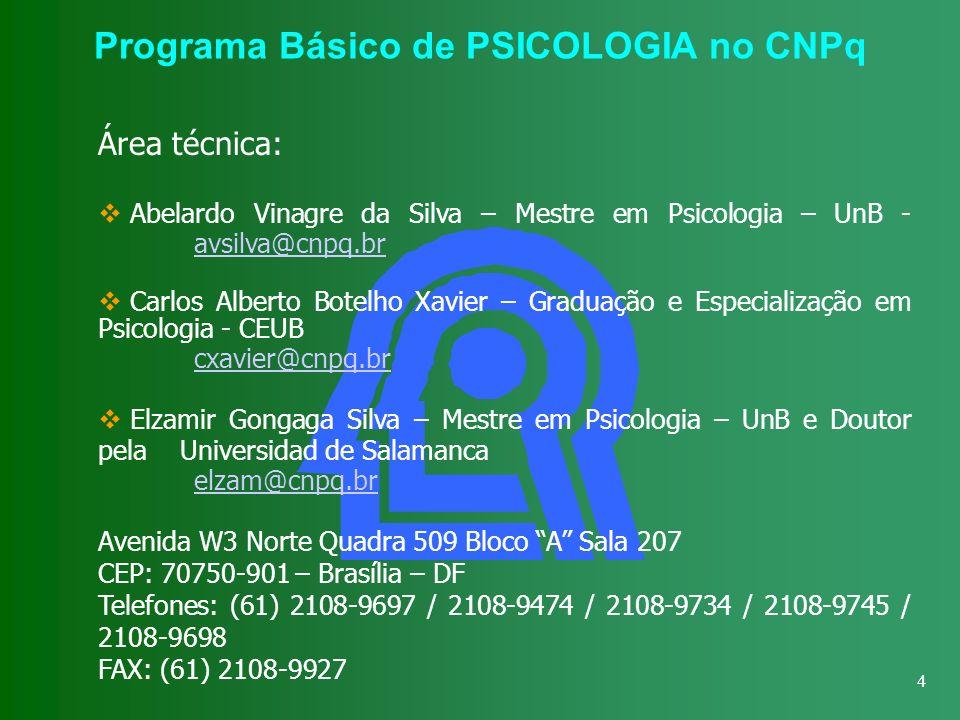 Programa Básico de PSICOLOGIA no CNPq