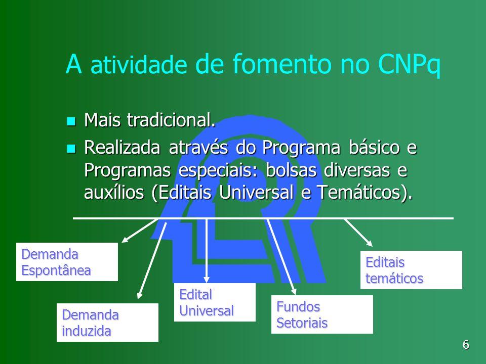 A atividade de fomento no CNPq