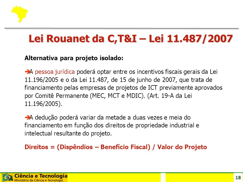 Lei Rouanet da C,T&I – Lei 11.487/2007