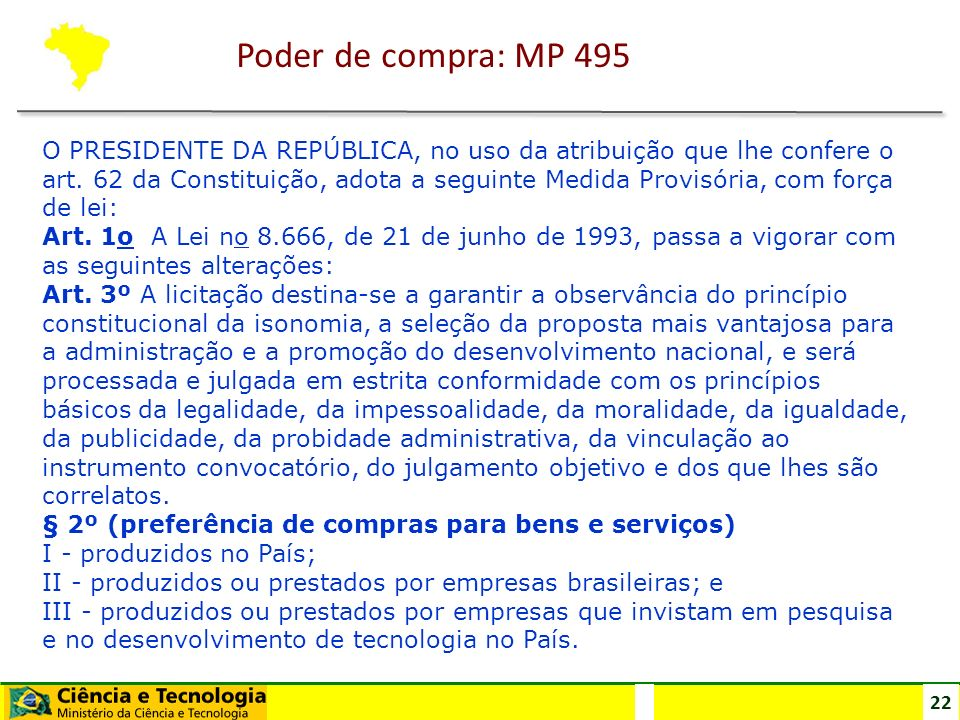 Poder de compra: MP 495