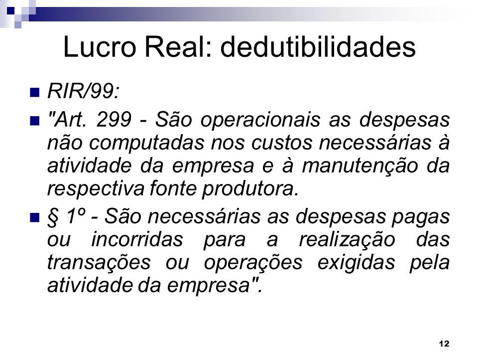 Lucro Real: dedutibilidades