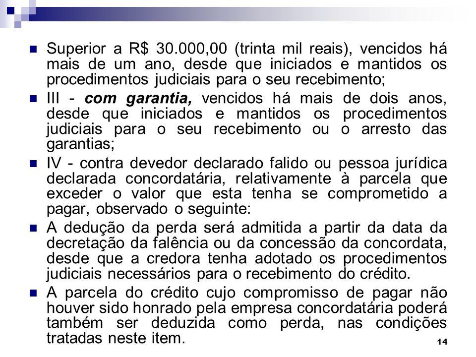 Superior a R$ 30.000,00 (trinta mil reais), vencidos há mais de um ano, desde que iniciados e mantidos os procedimentos judiciais para o seu recebimento;