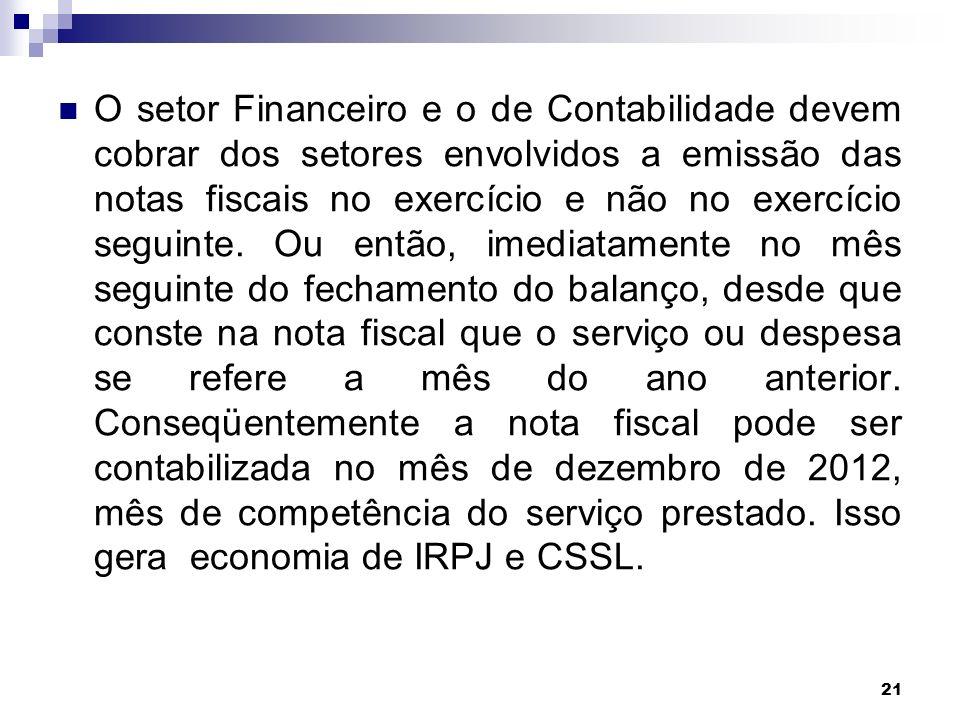 O setor Financeiro e o de Contabilidade devem cobrar dos setores envolvidos a emissão das notas fiscais no exercício e não no exercício seguinte.