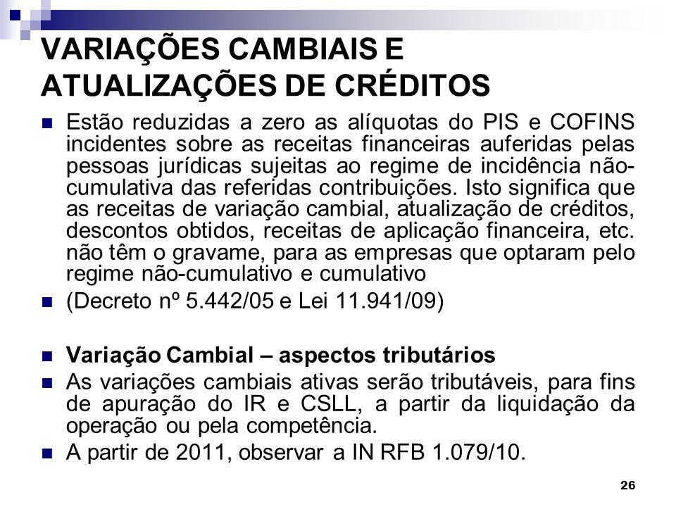 VARIAÇÕES CAMBIAIS E ATUALIZAÇÕES DE CRÉDITOS