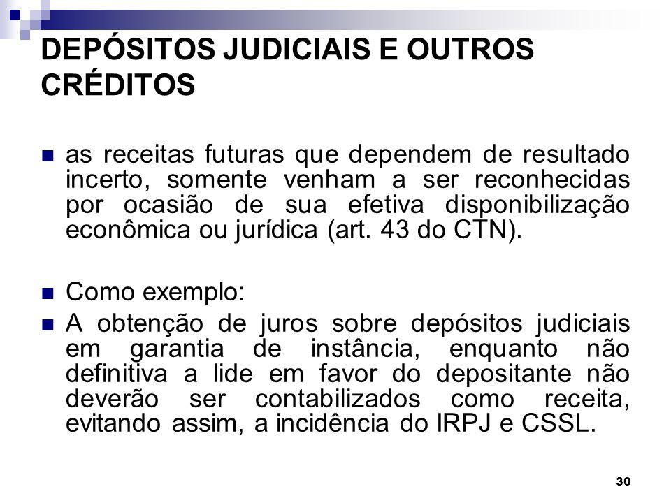 DEPÓSITOS JUDICIAIS E OUTROS CRÉDITOS
