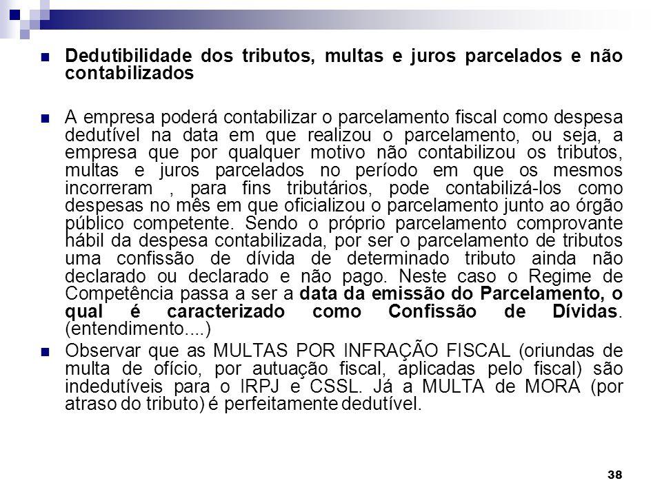 Dedutibilidade dos tributos, multas e juros parcelados e não contabilizados