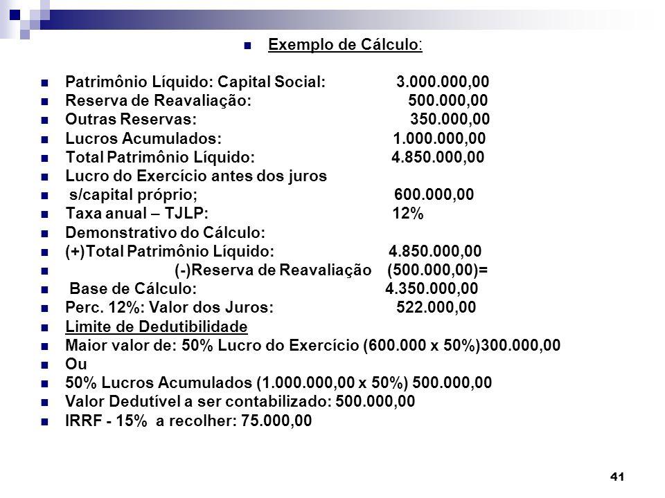Exemplo de Cálculo: Patrimônio Líquido: Capital Social: 3.000.000,00.