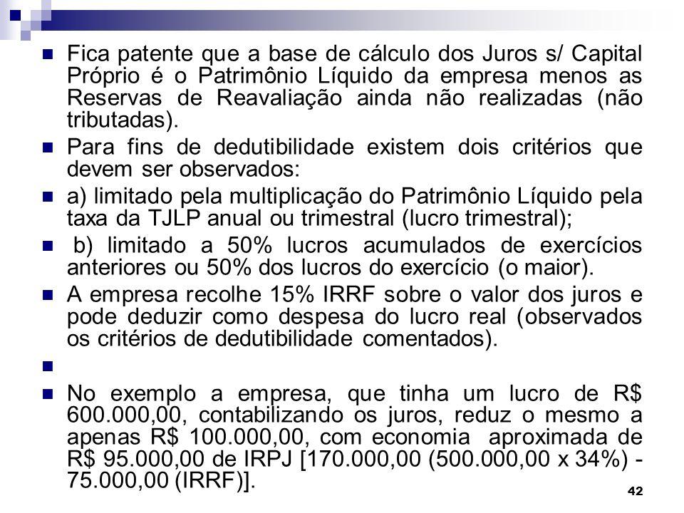 Fica patente que a base de cálculo dos Juros s/ Capital Próprio é o Patrimônio Líquido da empresa menos as Reservas de Reavaliação ainda não realizadas (não tributadas).