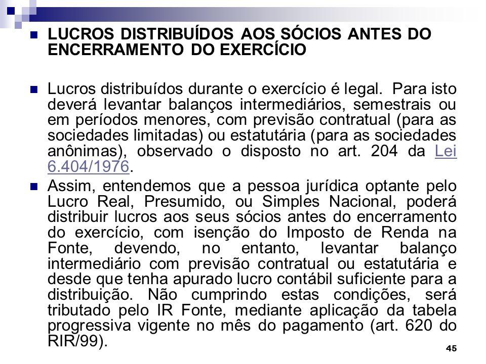 LUCROS DISTRIBUÍDOS AOS SÓCIOS ANTES DO ENCERRAMENTO DO EXERCÍCIO