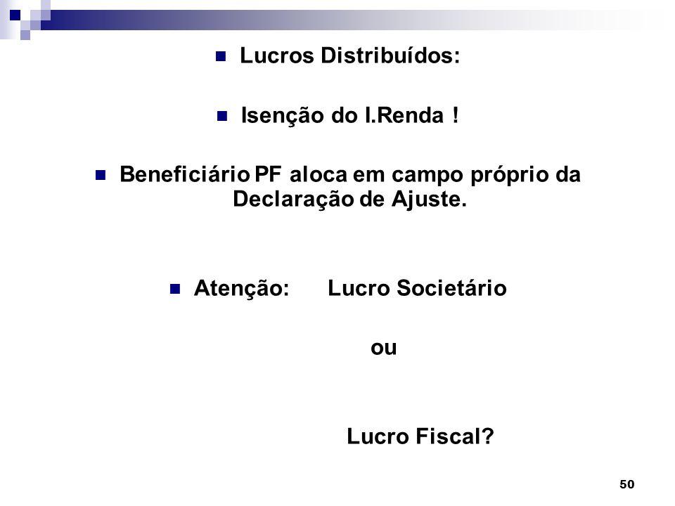 Beneficiário PF aloca em campo próprio da Declaração de Ajuste.