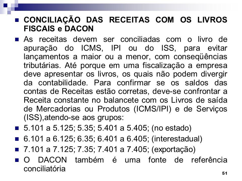 CONCILIAÇÃO DAS RECEITAS COM OS LIVROS FISCAIS e DACON