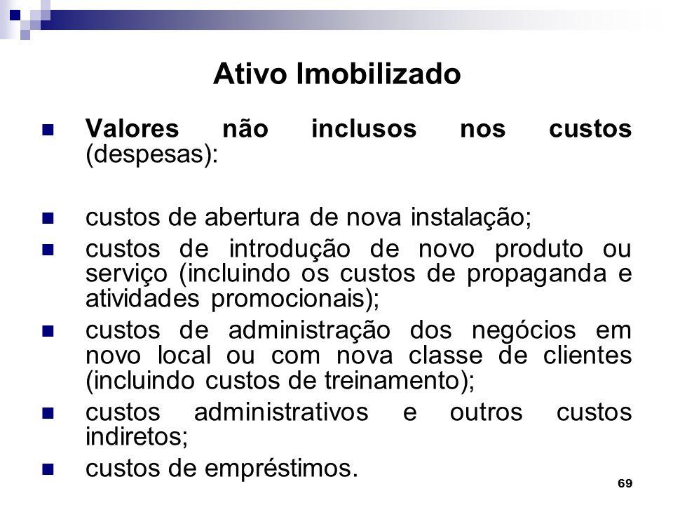 Ativo Imobilizado Valores não inclusos nos custos (despesas):