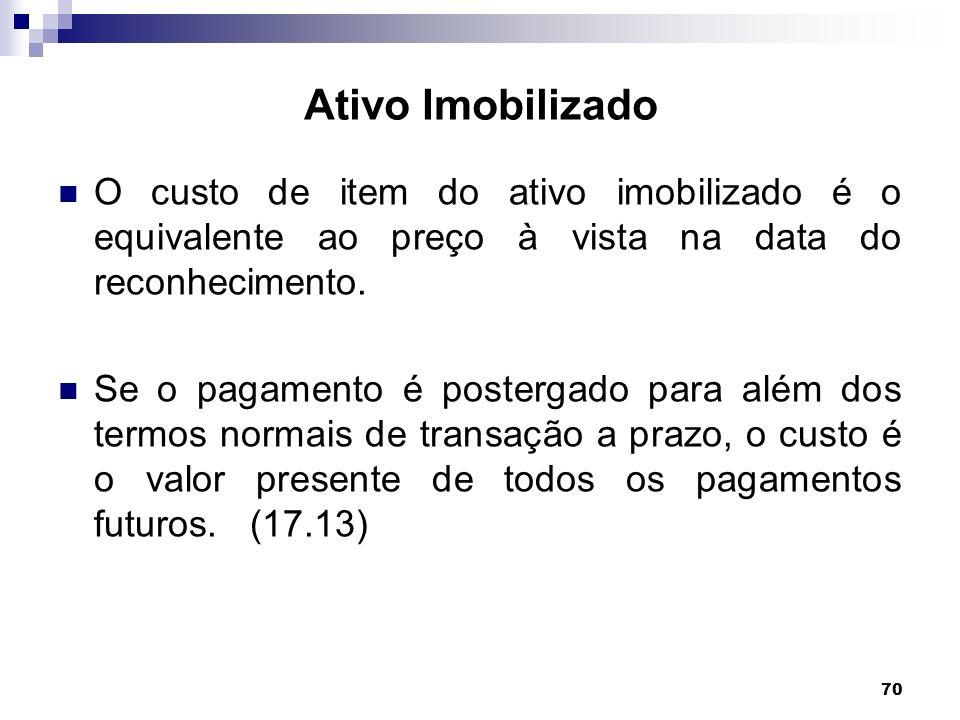 Ativo Imobilizado O custo de item do ativo imobilizado é o equivalente ao preço à vista na data do reconhecimento.