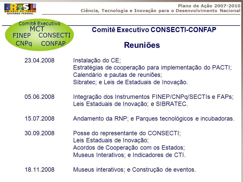 Reuniões MCT Comitê Executivo CONSECTI-CONFAP FINEP CONSECTI CNPq