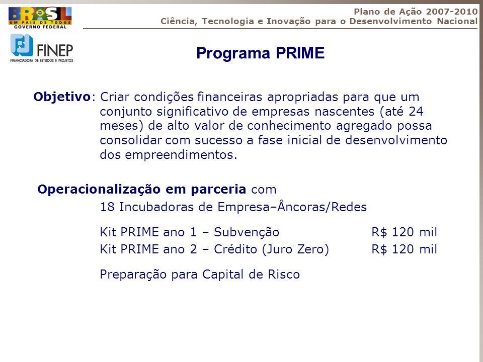Plano de Ação 2007-2010 Ciência, Tecnologia e Inovação para o Desenvolvimento Nacional. Programa PRIME.