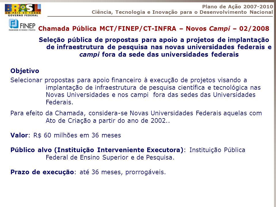 Chamada Pública MCT/FINEP/CT-INFRA – Novos Campi – 02/2008