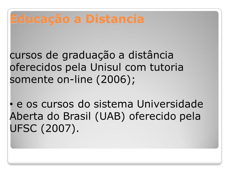Educação a Distancia cursos de graduação a distância oferecidos pela Unisul com tutoria somente on-line (2006);