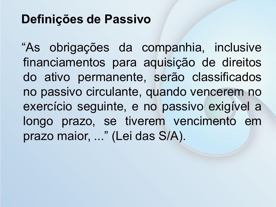 Definições de Passivo