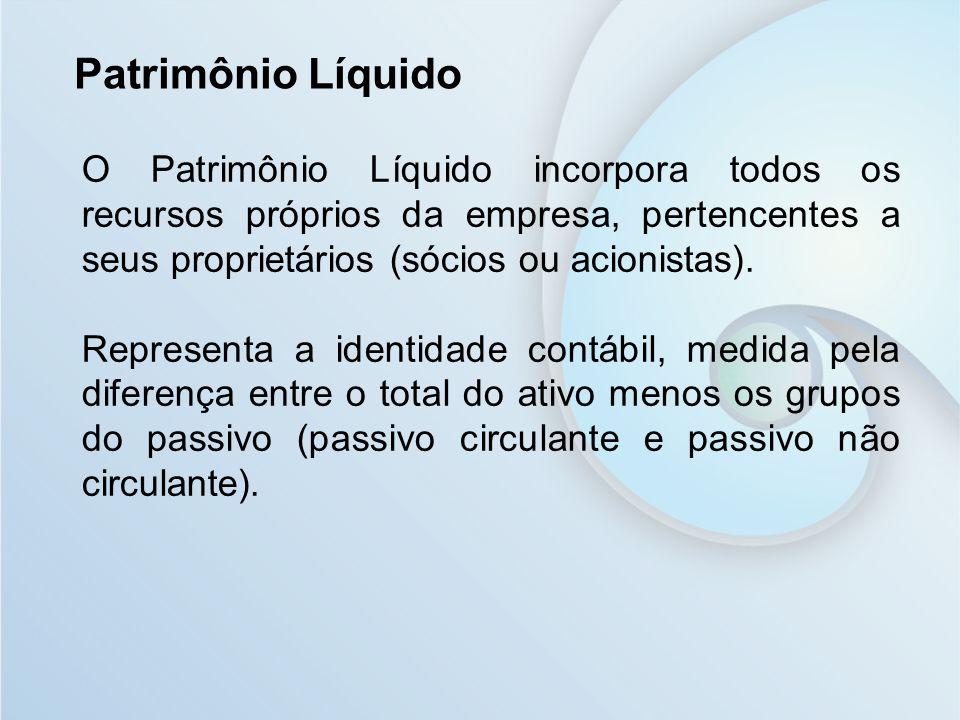 Patrimônio Líquido O Patrimônio Líquido incorpora todos os recursos próprios da empresa, pertencentes a seus proprietários (sócios ou acionistas).