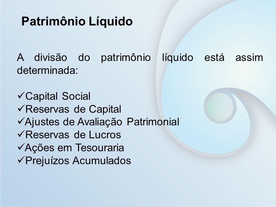 Patrimônio Líquido A divisão do patrimônio líquido está assim determinada: Capital Social. Reservas de Capital.