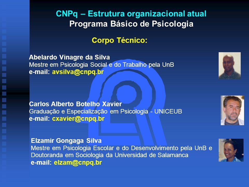 CNPq – Estrutura organizacional atual Programa Básico de Psicologia