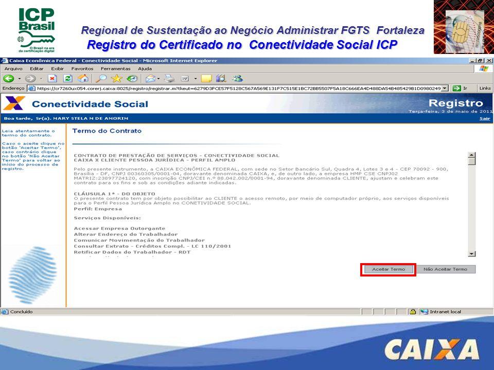 Registro do Certificado no Conectividade Social ICP