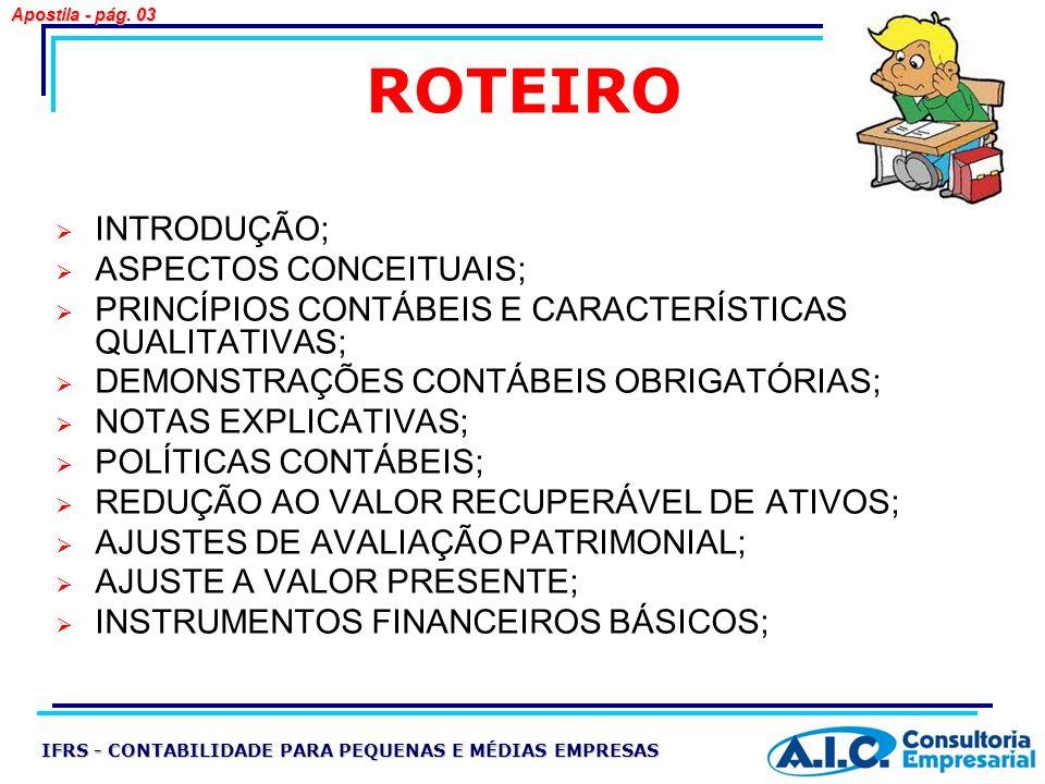 ROTEIRO INTRODUÇÃO; ASPECTOS CONCEITUAIS;