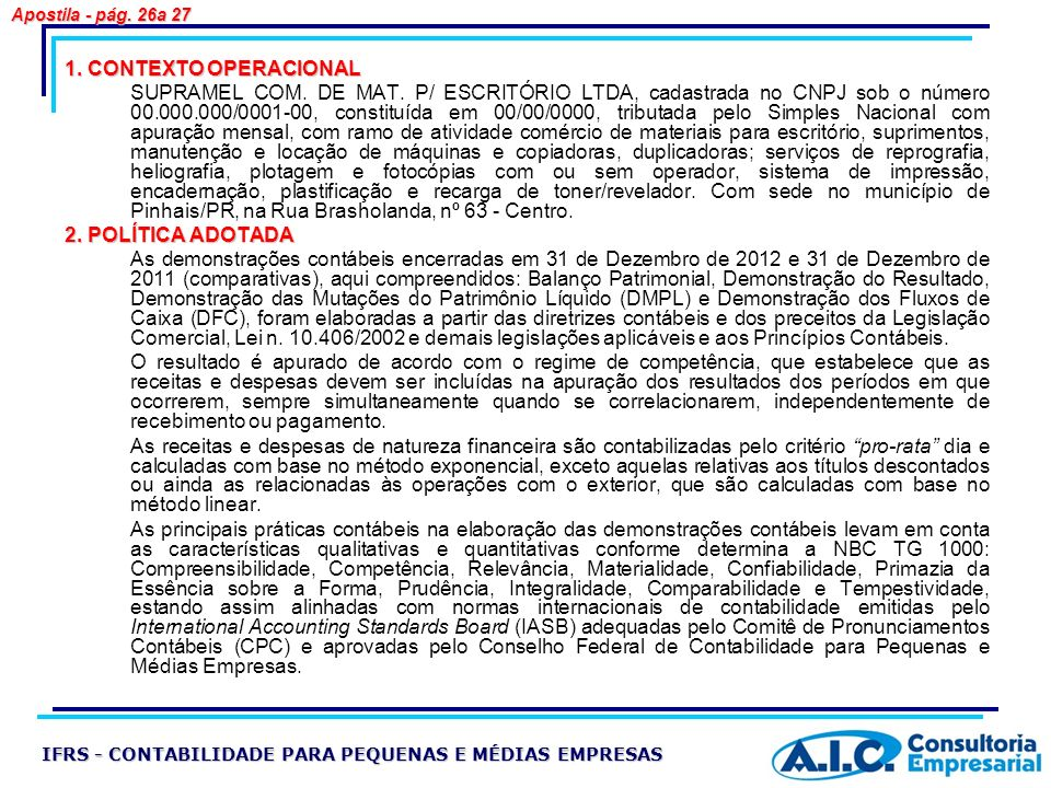 Apostila - pág. 26a 27 1. CONTEXTO OPERACIONAL.