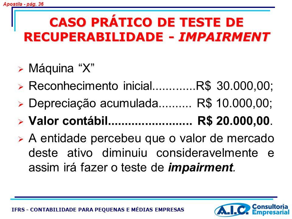 CASO PRÁTICO DE TESTE DE RECUPERABILIDADE - IMPAIRMENT