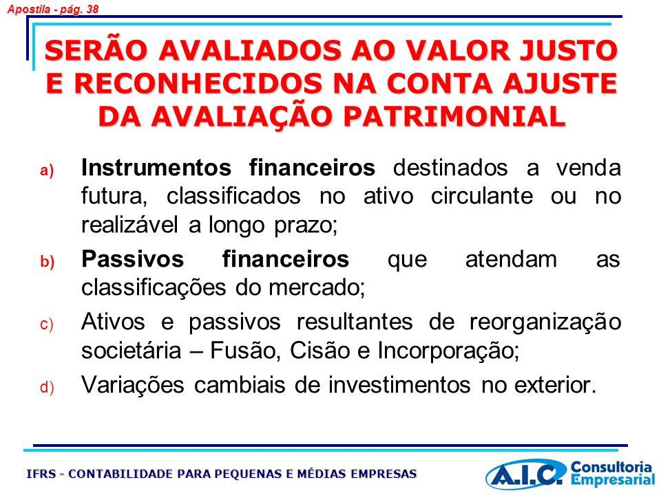 Apostila - pág. 38 SERÃO AVALIADOS AO VALOR JUSTO E RECONHECIDOS NA CONTA AJUSTE DA AVALIAÇÃO PATRIMONIAL.