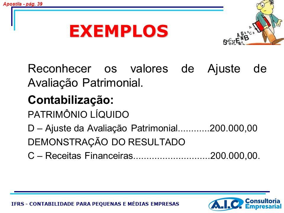 EXEMPLOS Reconhecer os valores de Ajuste de Avaliação Patrimonial.