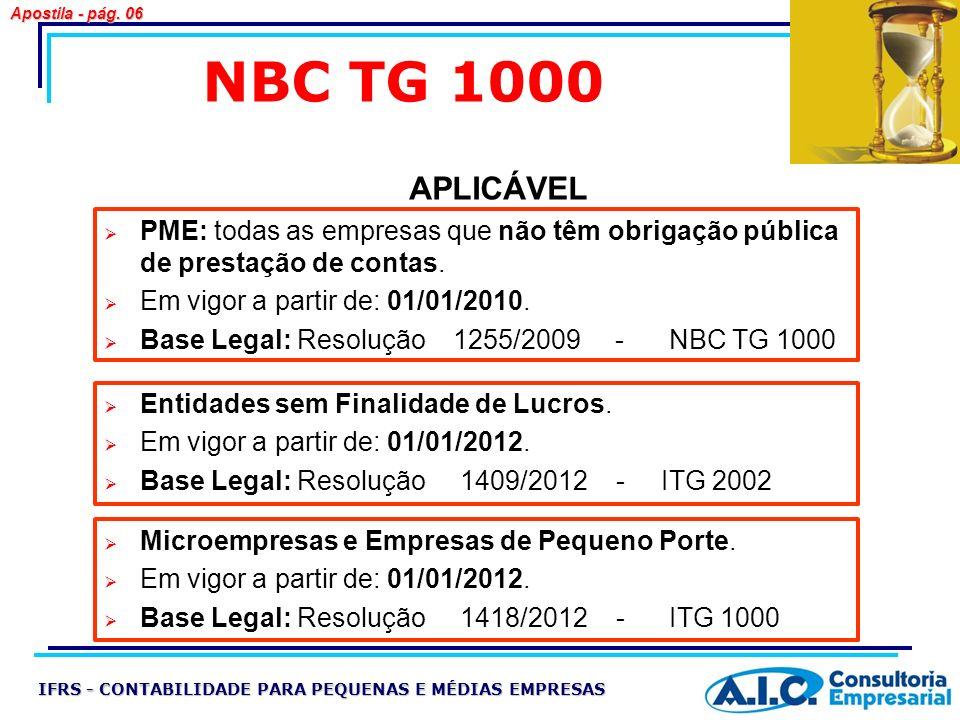 Apostila - pág. 06 NBC TG 1000. APLICÁVEL. PME: todas as empresas que não têm obrigação pública de prestação de contas.