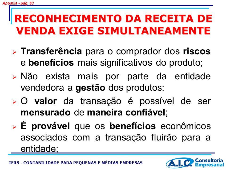 RECONHECIMENTO DA RECEITA DE VENDA EXIGE SIMULTANEAMENTE