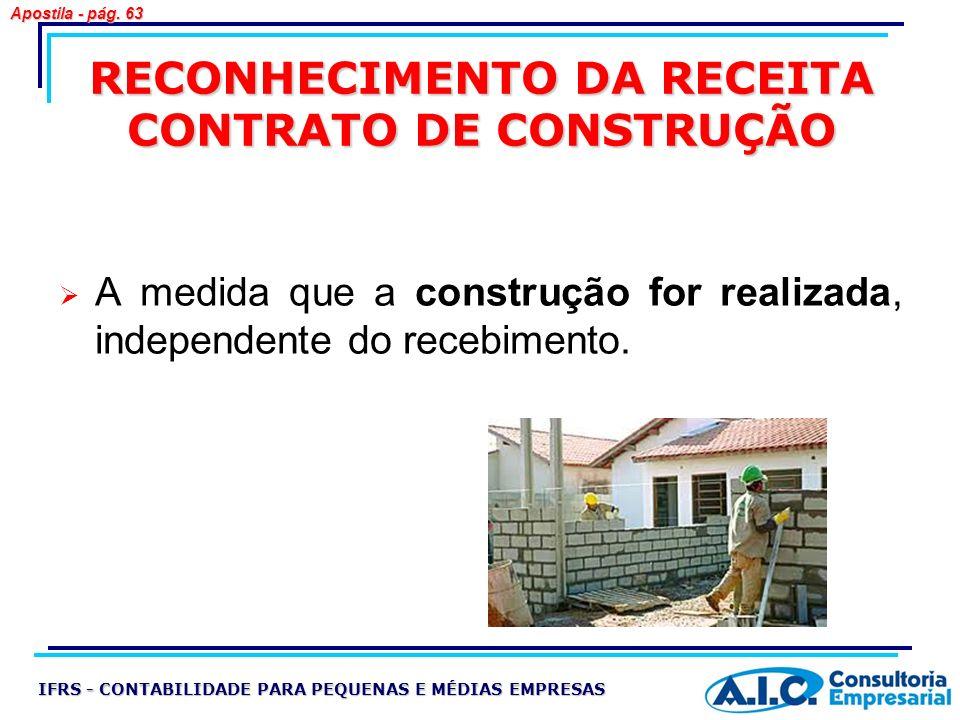 RECONHECIMENTO DA RECEITA CONTRATO DE CONSTRUÇÃO