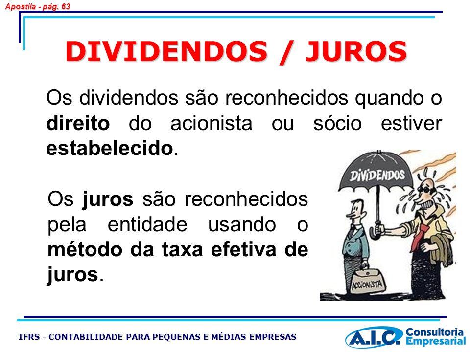 Apostila - pág. 63 DIVIDENDOS / JUROS. Os dividendos são reconhecidos quando o direito do acionista ou sócio estiver estabelecido.