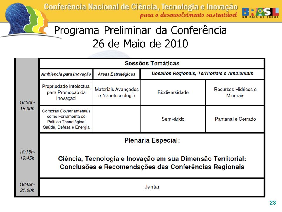 Programa Preliminar da Conferência 26 de Maio de 2010